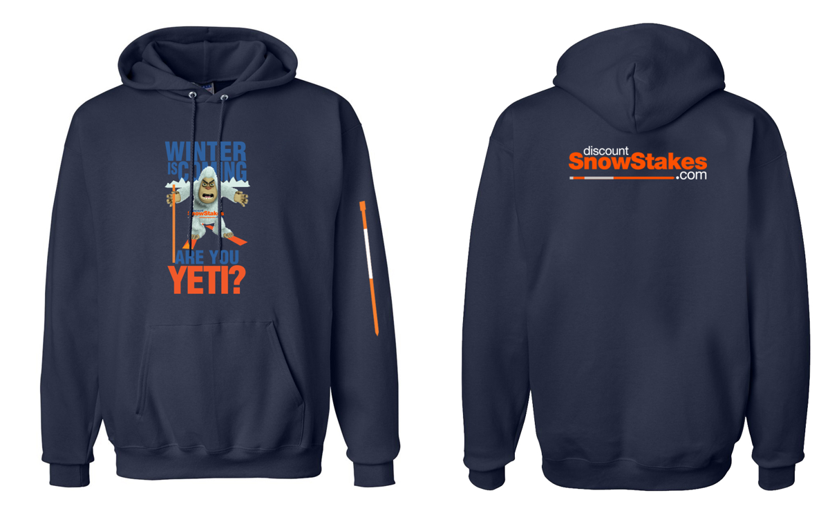 hooded sweat shirt, free gift, snow stakes